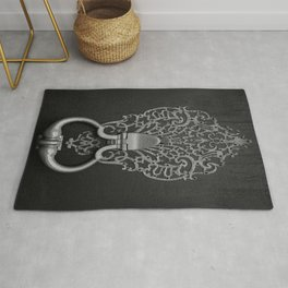 Ornamental Filigree Door Knocker in Black and White  Rug