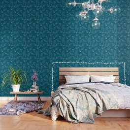Christmas Trees Teal Wallpaper