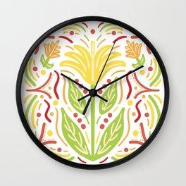 Yellow Flower Firecracker Dots Wall Clock