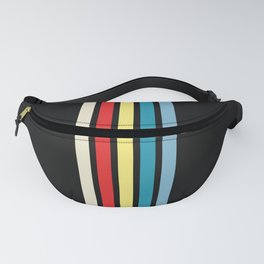 Five Trendy Colorful Stripes on Black 16 Fanny Pack
