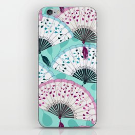 Oriental Hand Fan Pattern iPhone Skin