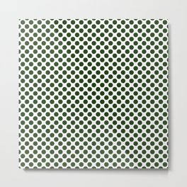 Large Dark Forest Green Polka Dot Spots on White Metal Print