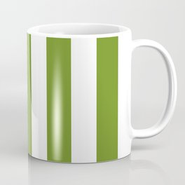 Olive Drab (#3) - solid color - white vertical lines pattern Coffee Mug