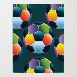 Colorful Soccer Ball Poster