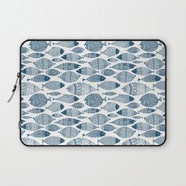 Blue Fish White Laptop Sleeve