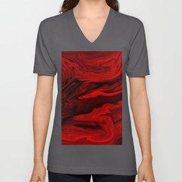 Blood Red Marble Unisex V-Ausschnitt
