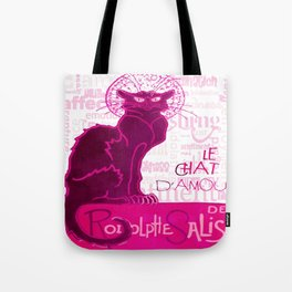 Le Chat D'Amour In Pink With Words of Love Vector Tote Bag