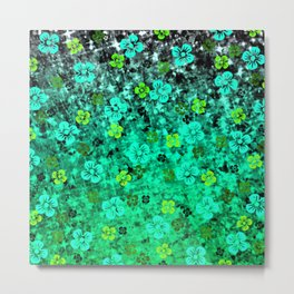 LUCK OF THE IRISH Colorful Emerald Green Ombre St Patricks Day Floral Shamrock Four Leaf Clover Art Metal Print