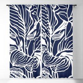 Navy Blue Floral Blackout Curtain
