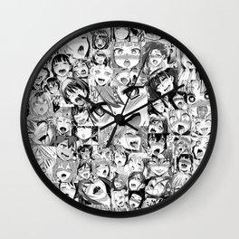 Ahegao Hentai Girls Anime Collage Wall Clock