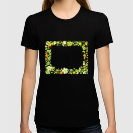 Frame from abstract leaves, flowers and butterflies T-shirt