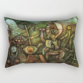 Classical Masterpiece 'Carnival in the Mountains' by Paul Klee Rectangular Pillow