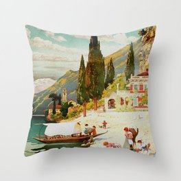 Switzerland and Italy Via St. Gotthard Travel Poster Throw Pillow