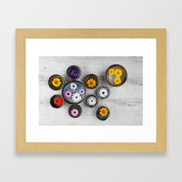 Colorful flowers floating in water in ceramic bowls on rustic wooden table.  Framed Art Print
