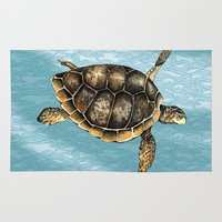 sea turtle Area & Throw Rugs featuring Sea turtle by Anna Yudina