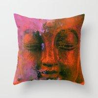 meditation Throw Pillows featuring Meditation by zAcheR-fineT