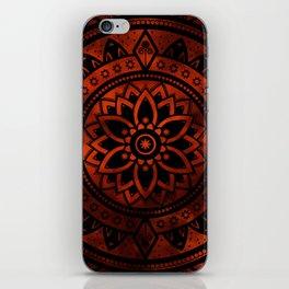 Burnt Orange & Black Patterned Flower Mandala iPhone Skin