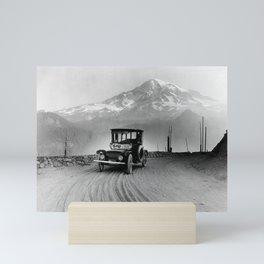 Vintage Electric Car and Mt. Rainier - 1919 Mini Art Print