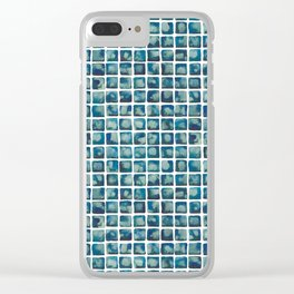 Turquoise Watecolor Tile Pattern Clear iPhone Case