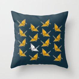 PAPER CRANES NAVY AND YELLOW Throw Pillow