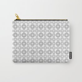 Black Interlocking Geometric Square Pattern on White Carry-All Pouch