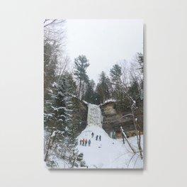 Munising Falls Ice Climbing Metal Print