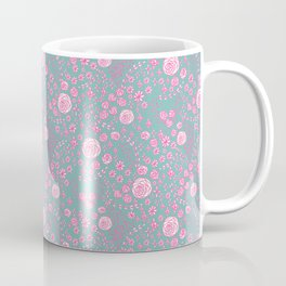Abstract pink garden pattern in cian background Coffee Mug