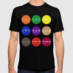 9 Glasses Styles MEDIUM Mens Fitted Tee Black