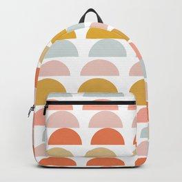 Geometric Half Circles Pattern in Earth Tones Backpack