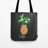fig Tote Bags featuring fig by Little Lost Garden
