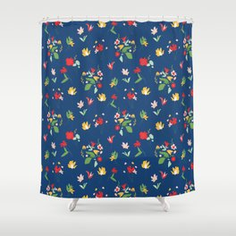 Vinage Retro bouquet botanicals Shower Curtain