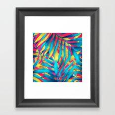 palm blue and gold Framed Art Print