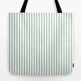 Moss Green Green Pin Stripe on White Tote Bag