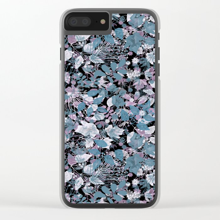Openwork blue and purple leaves on a black background . Clear iPhone Case