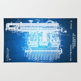 Type Writing Machine Patent Blueprint Drawing Rug
