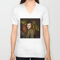 cyrilliart V-neck T-shirts featuring Dragon Series: Harry by Cyrilliart