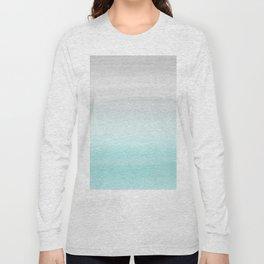 Touching Aqua Blue Gray Watercolor Abstract #1 #painting #decor #art #society6 Long Sleeve T-shirt