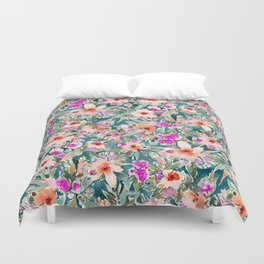 VICARIOUS VACATION Lush Tropical Floral Duvet Cover