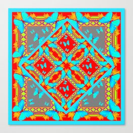Decorative Western Style Red Patterns & Turquoise Butterflies Canvas Print
