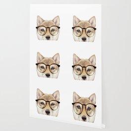 Shiba inu with glasses Dog illustration original painting print Wallpaper
