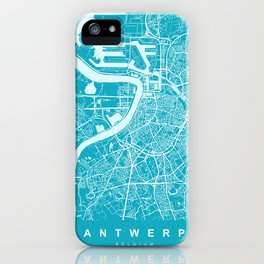 Antwerp Map | Belgium | Blue & Cyan | More Colors, Review My Collections iPhone Case