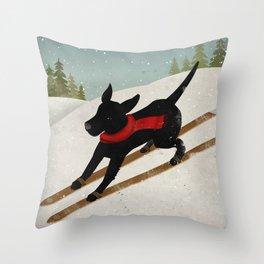 Black Dog Labrador Ski Mountain Throw Pillow