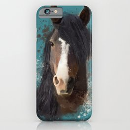Black Brown Horse Artwork iPhone Case