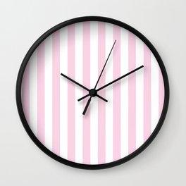 Pastel pink white modern geometric stripes Wall Clock