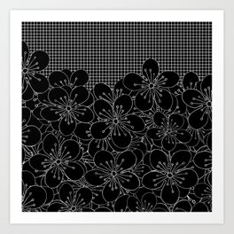 Cherry Blossom Grid Black Art Print