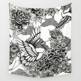 Cranes (B&W) Wall Tapestry
