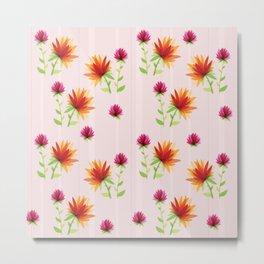 Orange and Pink Contemporary Flower Design Metal Print