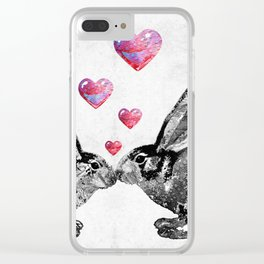 Bunny Rabbit Art - Hopped Up On Love 2 - By Sharon Cummings Clear iPhone Case