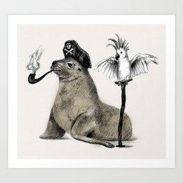 Pirate // seal parrot Art Print