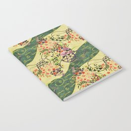 Vintage green and gold oriental floral pattern Notebook